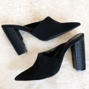 Qupid black slip on heels